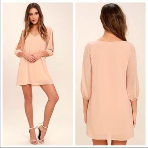 Lulus Shifting Dress Blush Pink Long Sleeve Dress